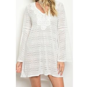 Ivory Bell Sleeve Casual Beach Lace Shift Dress